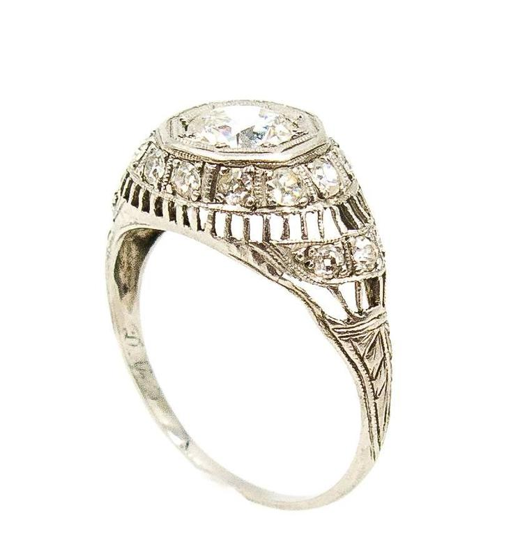 1926 Art Deco Diamond Platinum Engagement Ring 4
