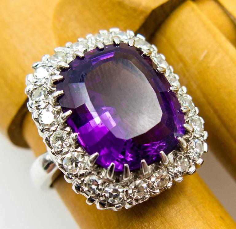 Regal Purple Amethyst Diamond Gold Cluster Ring In Excellent Condition In New York, NY