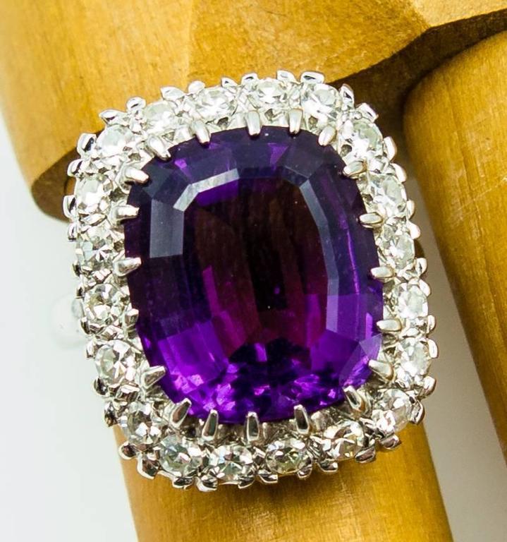 Women's Regal Purple Amethyst Diamond Gold Cluster Ring