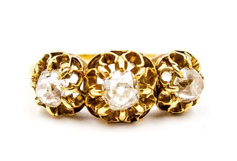 Elegant Victorian Three Diamond Gold Ring 2