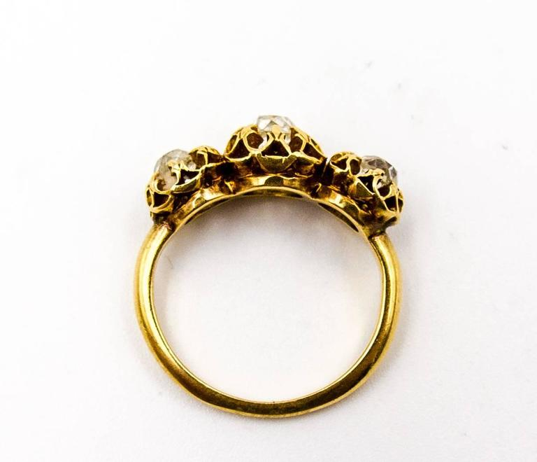 Elegant Victorian Three Diamond Gold Ring 6