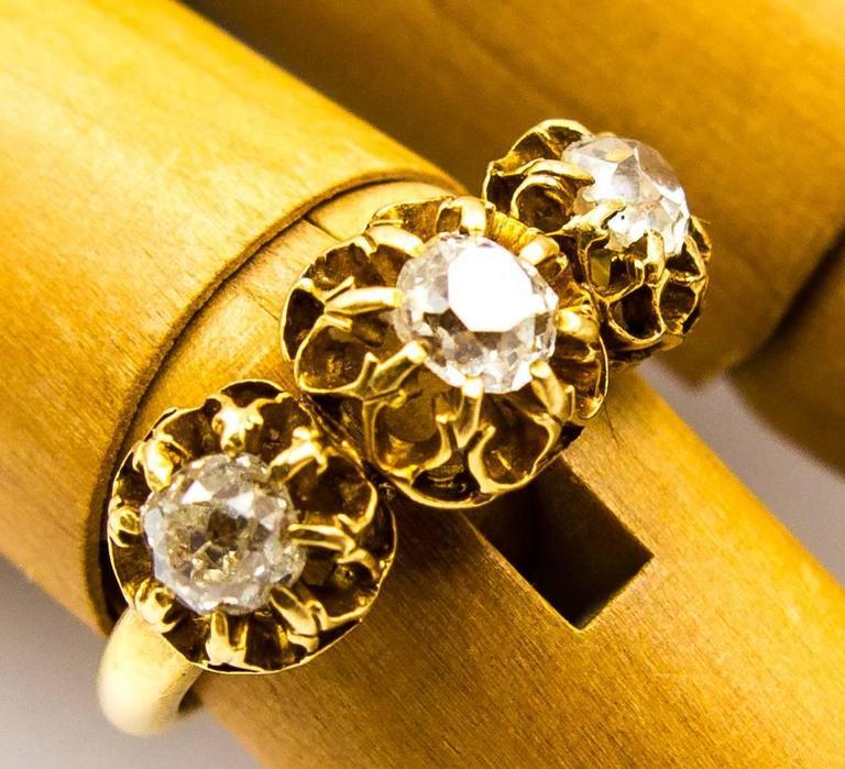 Elegant Victorian Three Diamond Gold Ring 7