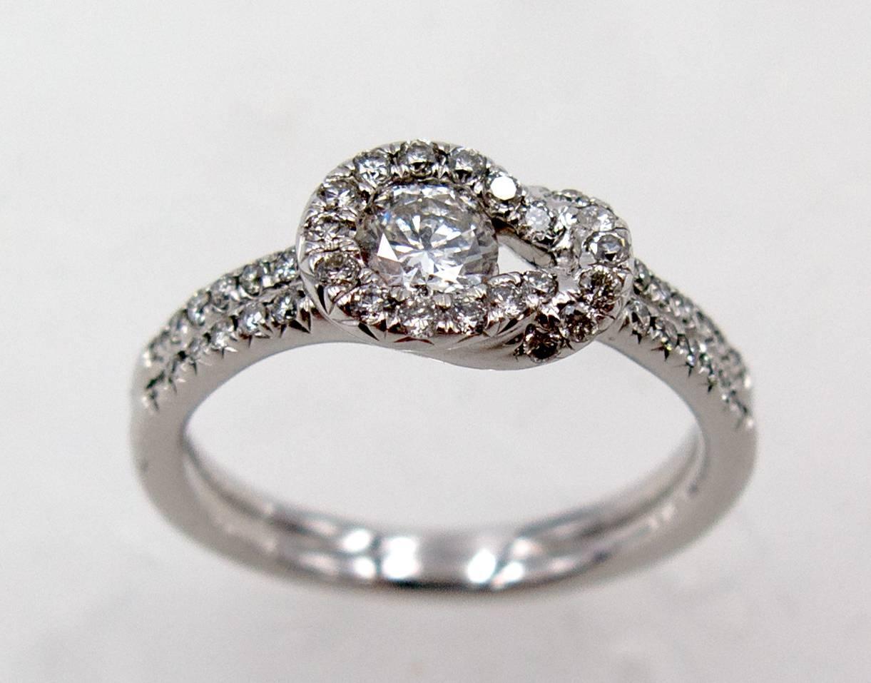 Elegant Diamond Platinum Mount Hercules Knot Ring For Sale At 1stdibs
