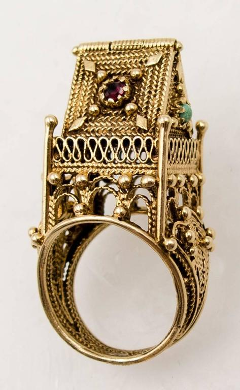 unusual garnet turquoise gold jewish wedding ring 2 - Jewish Wedding Ring