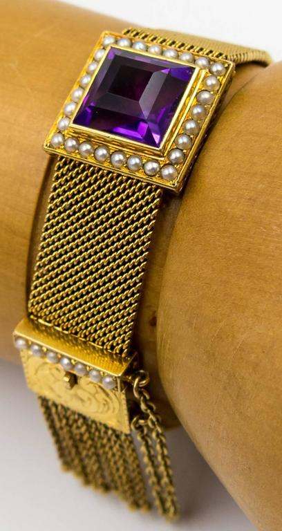 Antique Amethyst Pearl Mesh Tassel Gold Bracelet For Sale