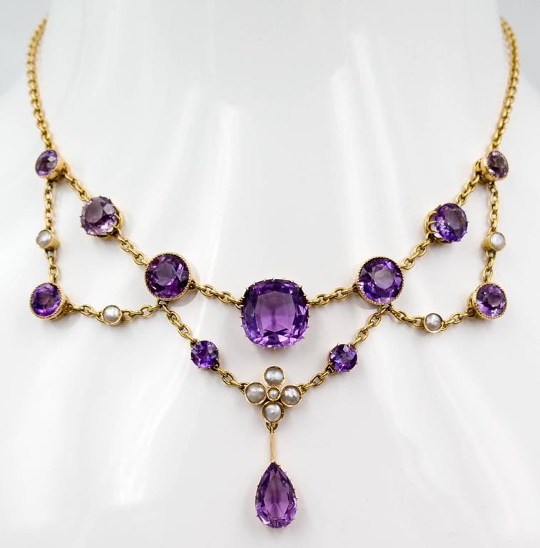 Antique Victorian Amethyst Pearl Gold Swag Necklace For