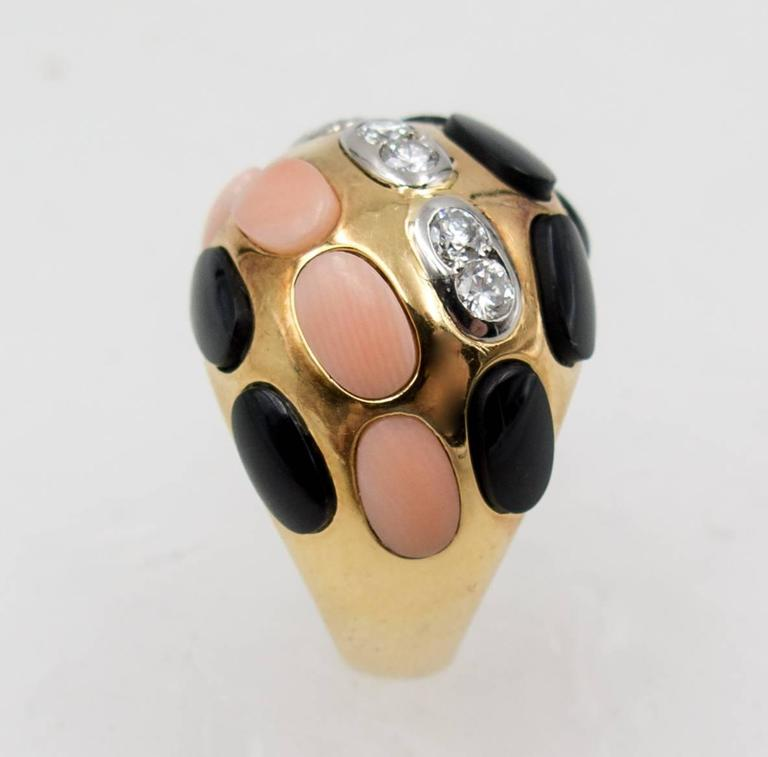 Women's Bold French Angelskin Coral Onyx Diamond Dome Ring For Sale