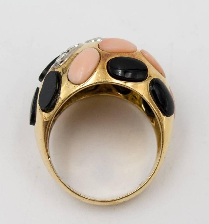 Bold French Angelskin Coral Onyx Diamond Dome Ring For Sale 1