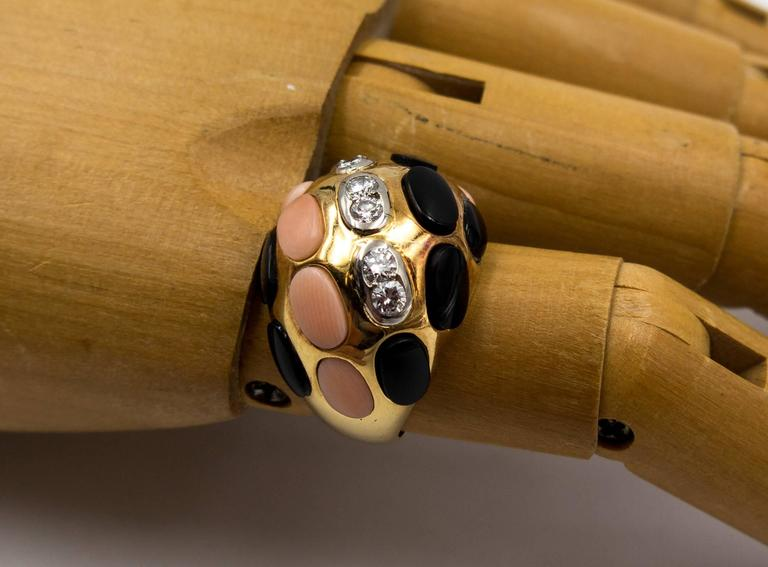 Bold French Angelskin Coral Onyx Diamond Dome Ring For Sale 3