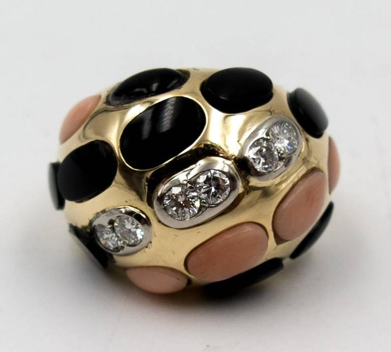 Bold French Angelskin Coral Onyx Diamond Dome Ring In Good Condition For Sale In New York, NY