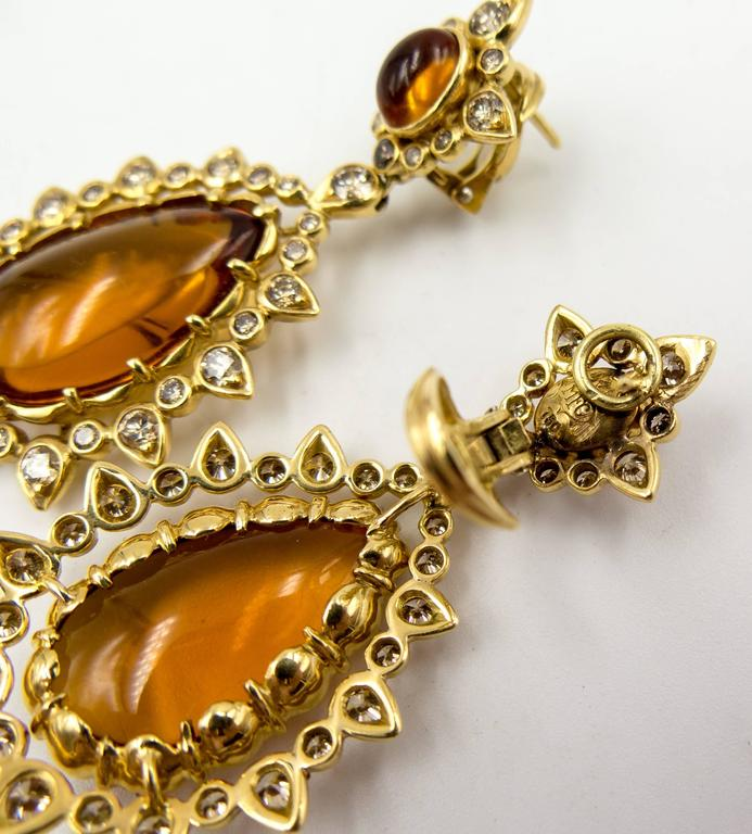 Marilyn F. Cooperman Honey Citrine Diamond Pendeloque Earrings In Excellent Condition For Sale In New York, NY