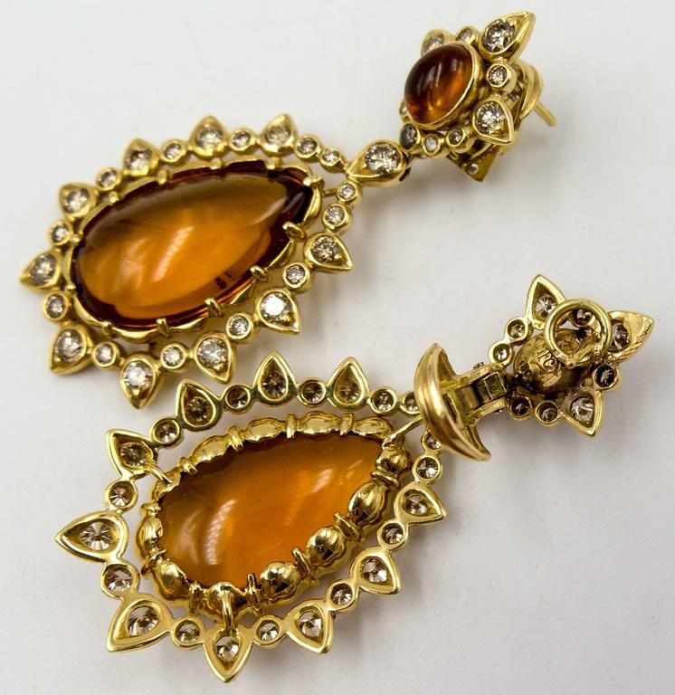 Women's Marilyn F. Cooperman Honey Citrine Diamond Pendeloque Earrings For Sale