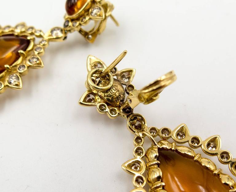 Marilyn F. Cooperman Honey Citrine Diamond Pendeloque Earrings For Sale 1
