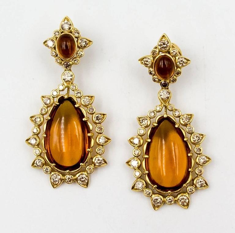 Marilyn F. Cooperman Honey Citrine Diamond Pendeloque Earrings For Sale 2