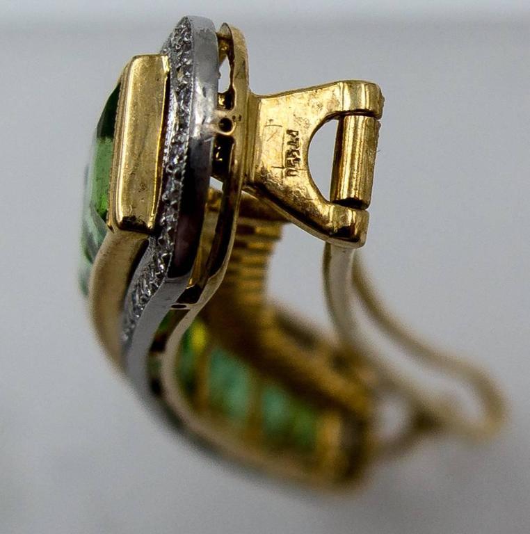 Custom-Made Mint Tourmaline Diamond Gold Platinum Hair Clip 3