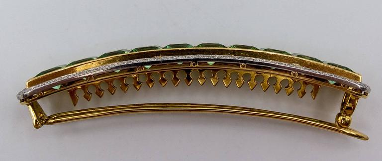 Custom-Made Mint Tourmaline Diamond Gold Platinum Hair Clip 4