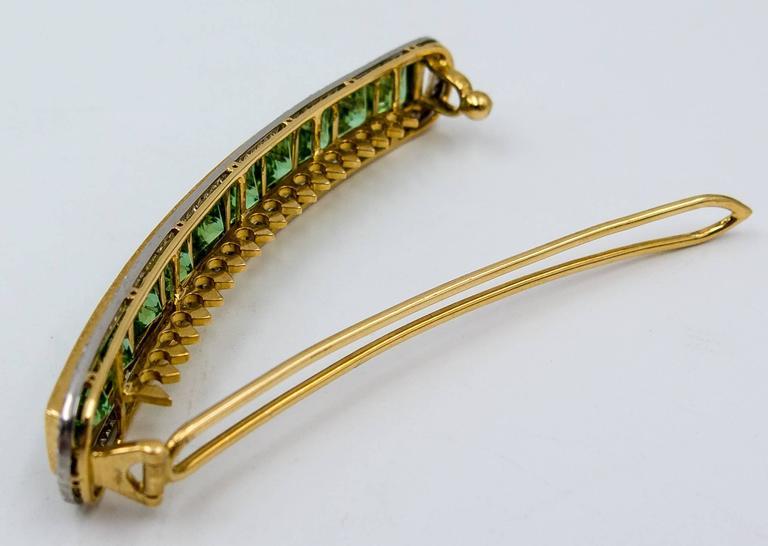 Custom-Made Mint Tourmaline Diamond Gold Platinum Hair Clip 5