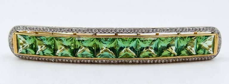 Custom-Made Mint Tourmaline Diamond Gold Platinum Hair Clip 7