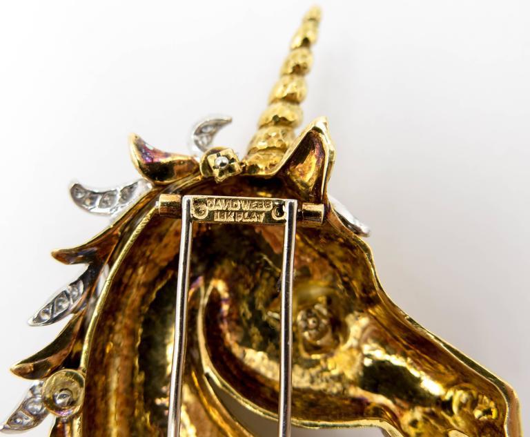Women's or Men's Whimsical David Webb Gold Diamond Emerald Ruby Unicorn Pin For Sale