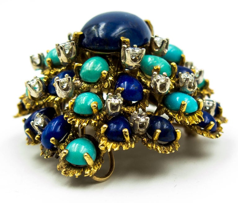 Turquoise Lapis Diamond Gold Cocktail Brooch In Excellent Condition For Sale In New York, NY