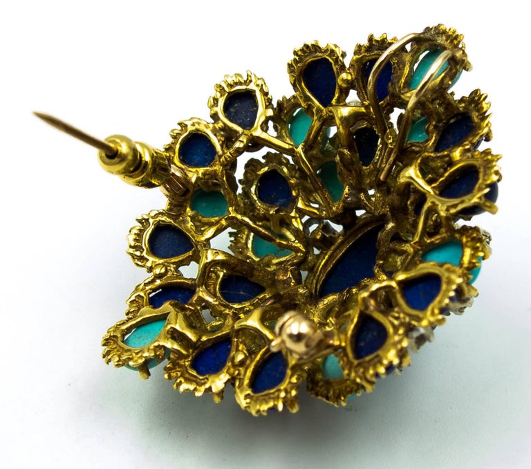 Turquoise Lapis Diamond Gold Cocktail Brooch For Sale 1