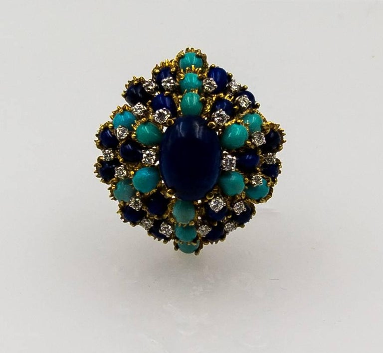 Turquoise Lapis Diamond Gold Cocktail Brooch For Sale 2