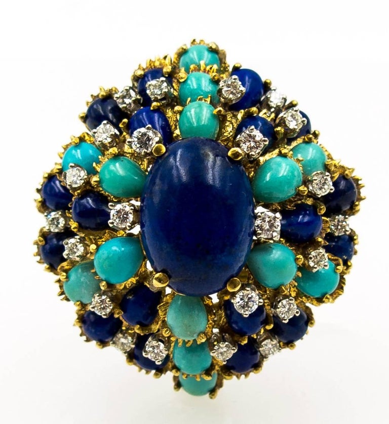 Turquoise Lapis Diamond Gold Cocktail Brooch For Sale 3