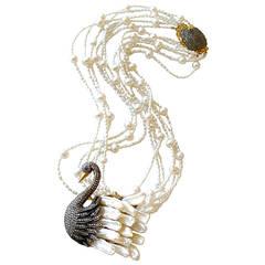 Freshwater Pearl Diamond Odette Swan Pendant Torsade Necklace