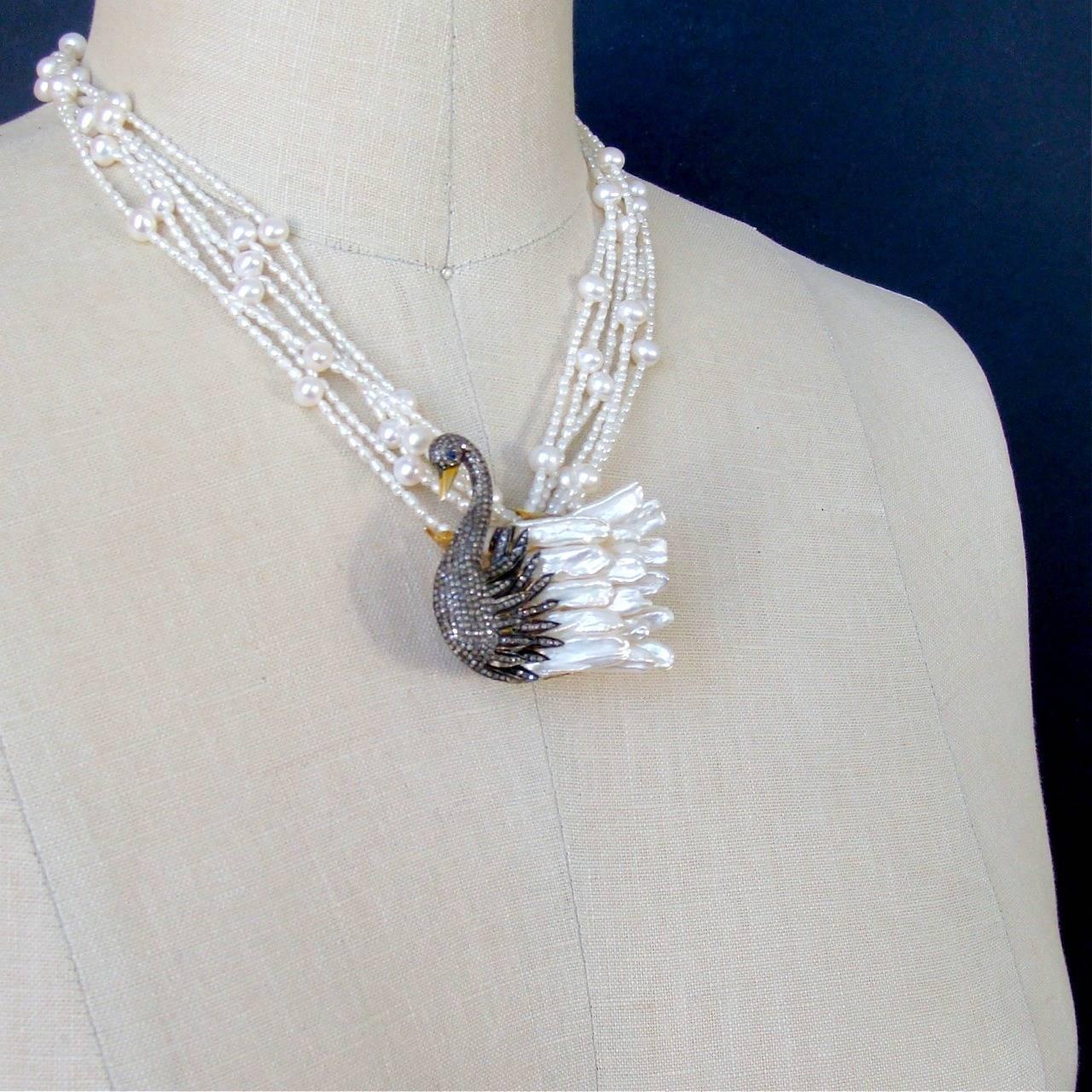 freshwater pearl odette swan pendant torsade
