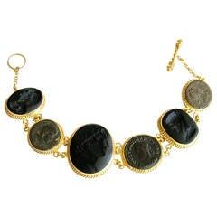 Venetian Glass Cameo Intaglio Bracelet Ancient Roman Coin Roma Bracelet