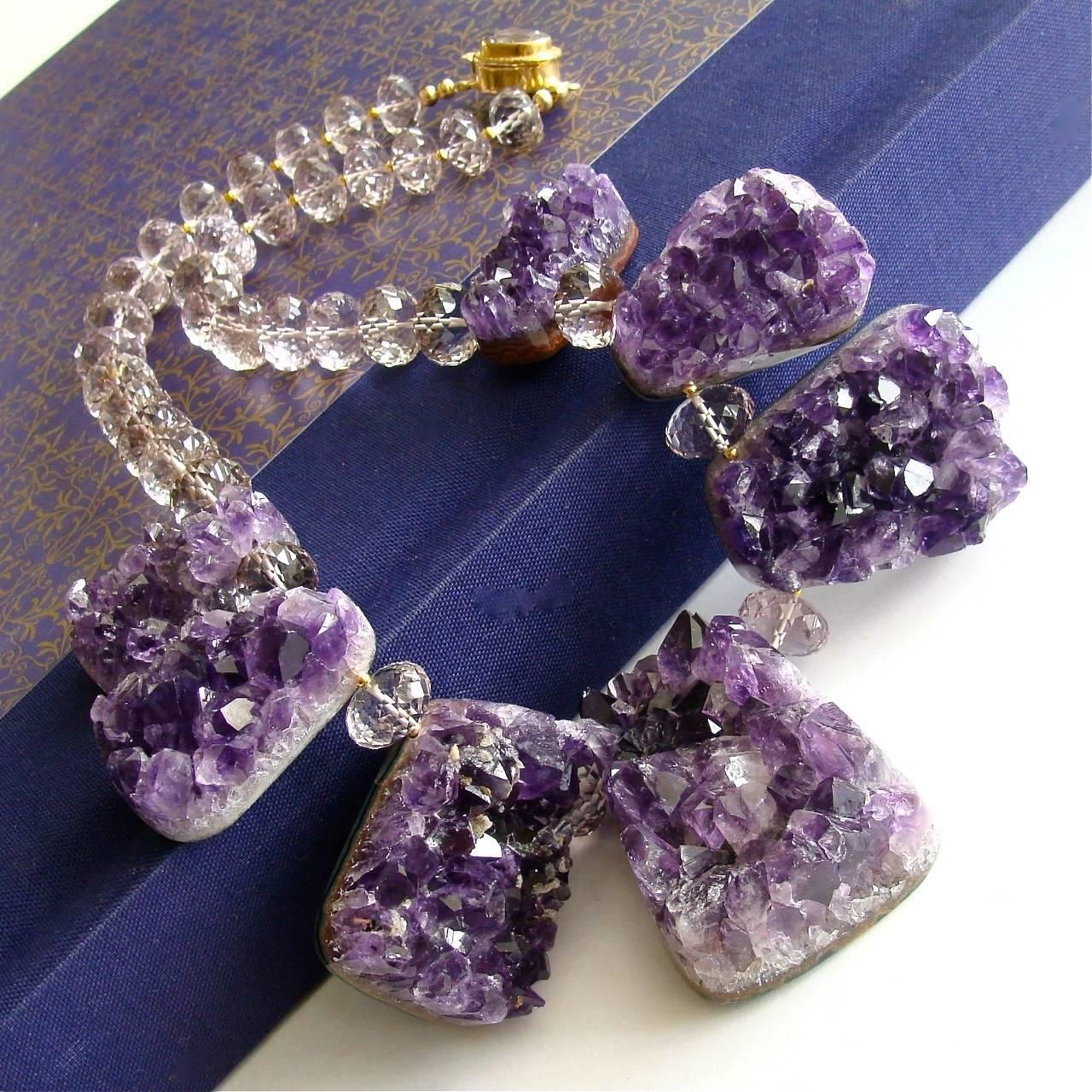 Artisan Amethyst Druzy Ambrosia Choker Necklace For Sale