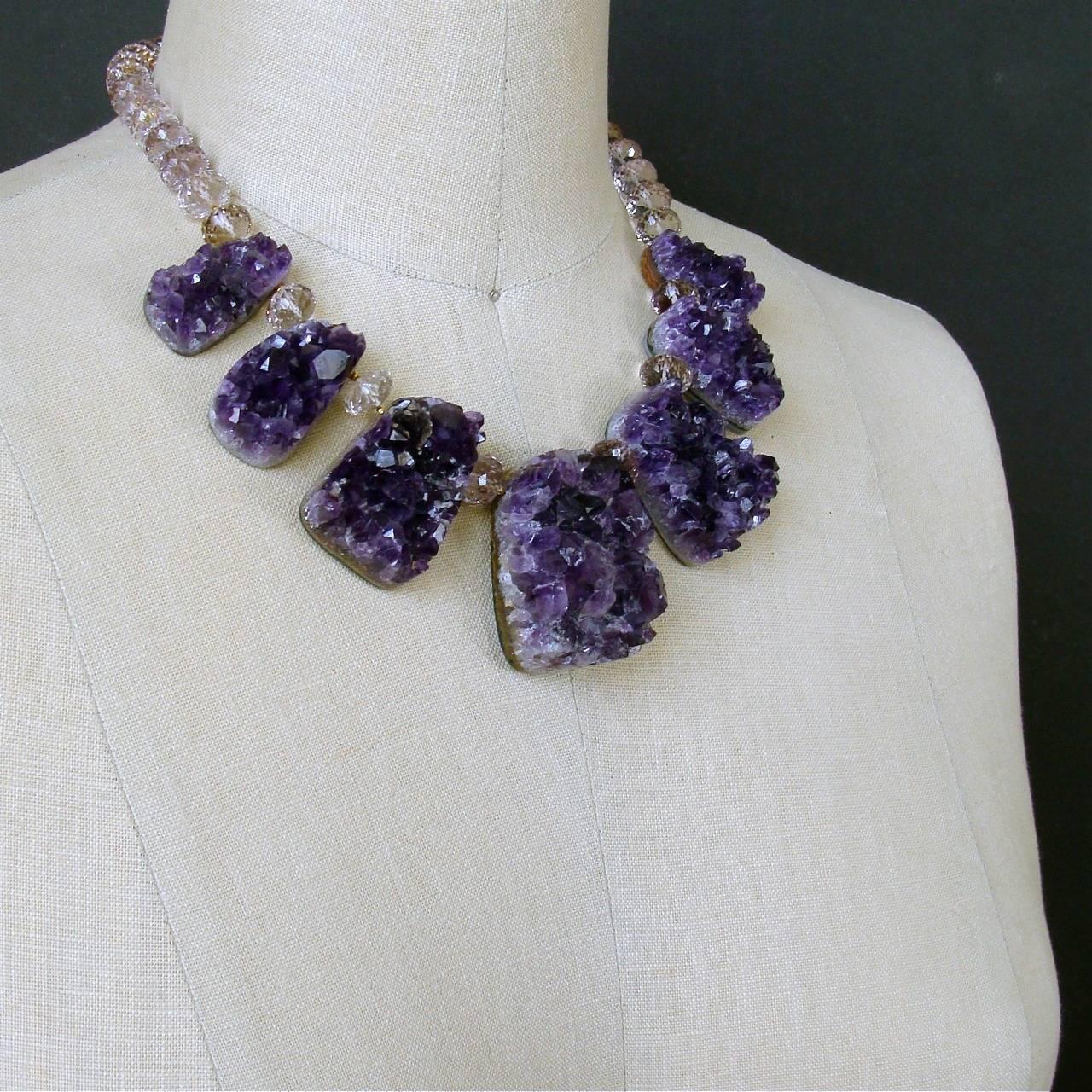 Women's Amethyst Druzy Ambrosia Choker Necklace For Sale