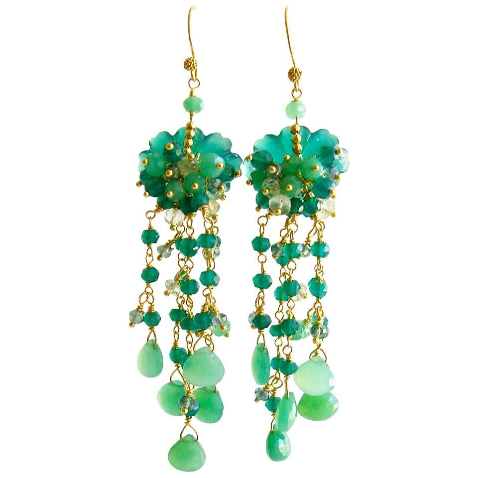 green chandelier earrings carved green onyx chrysoprase