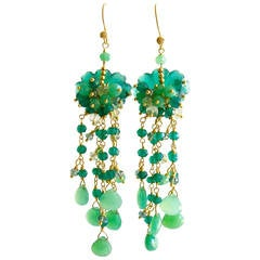 Carved Green Onyx Chrysoprase Prasiolite Chandelier Earrings