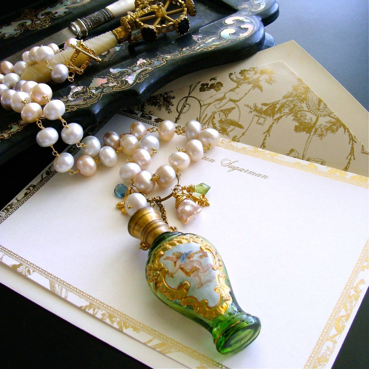 Cherub Chatelaine Scent Bottle Pink Baroque Pearls Necklace 2