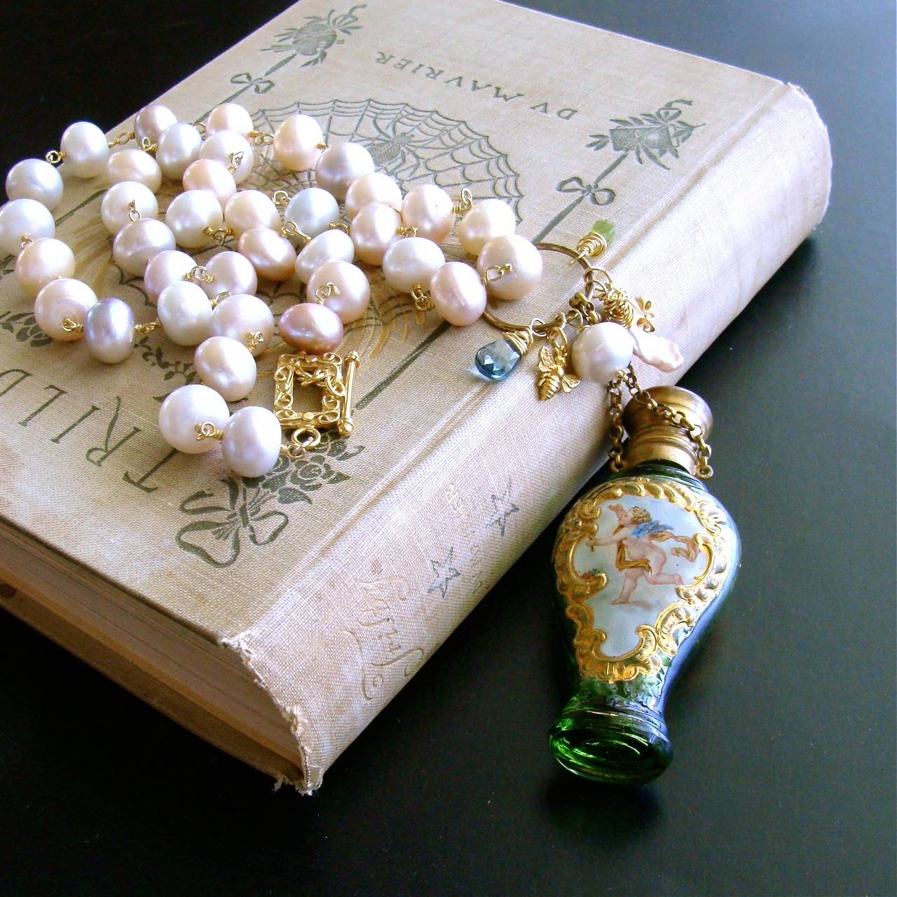 Cherub Chatelaine Scent Bottle Pink Baroque Pearls Necklace 4