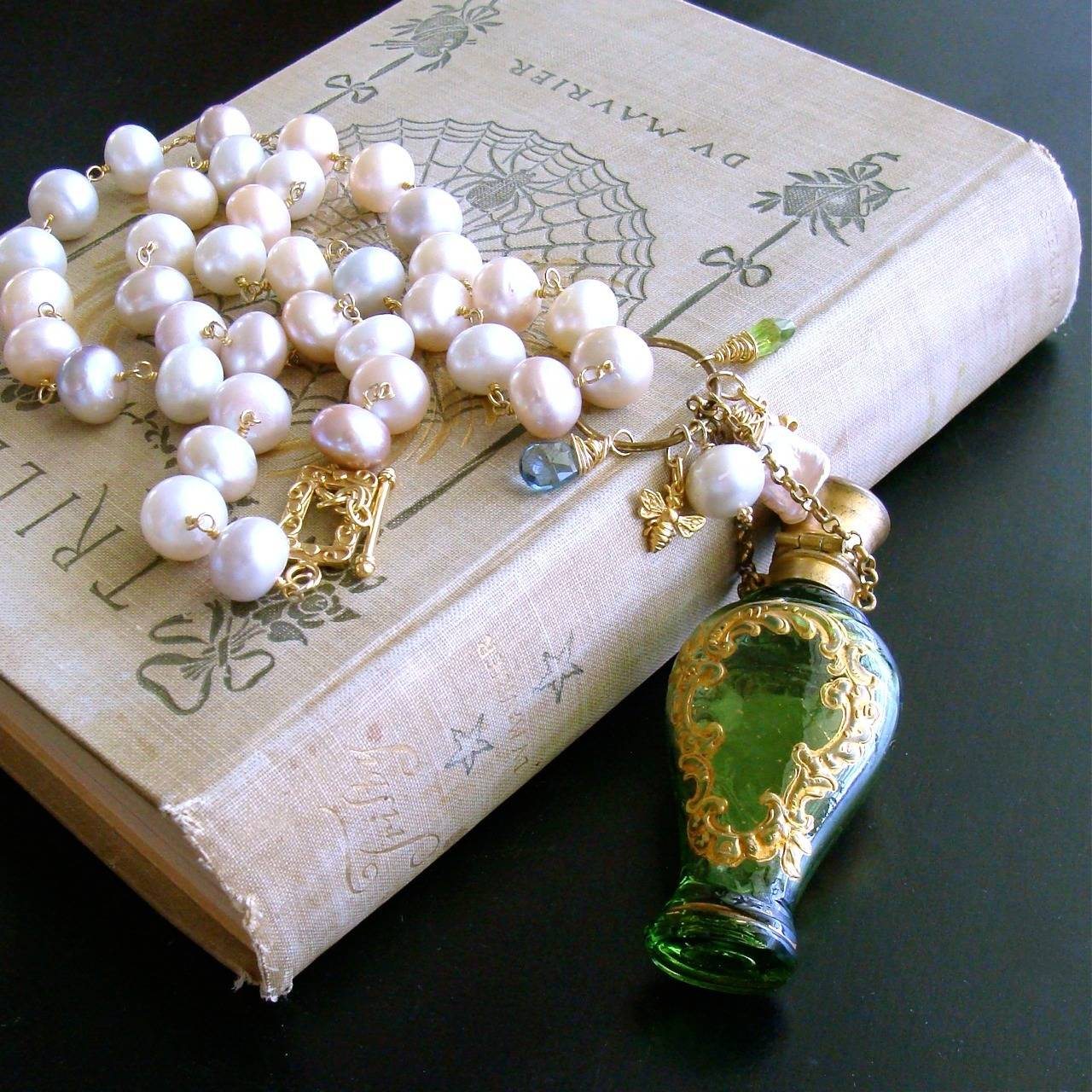 Cherub Chatelaine Scent Bottle Pink Baroque Pearls Necklace 5