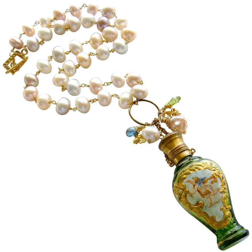Cherub Chatelaine Scent Bottle Pink Baroque Pearls Necklace 1