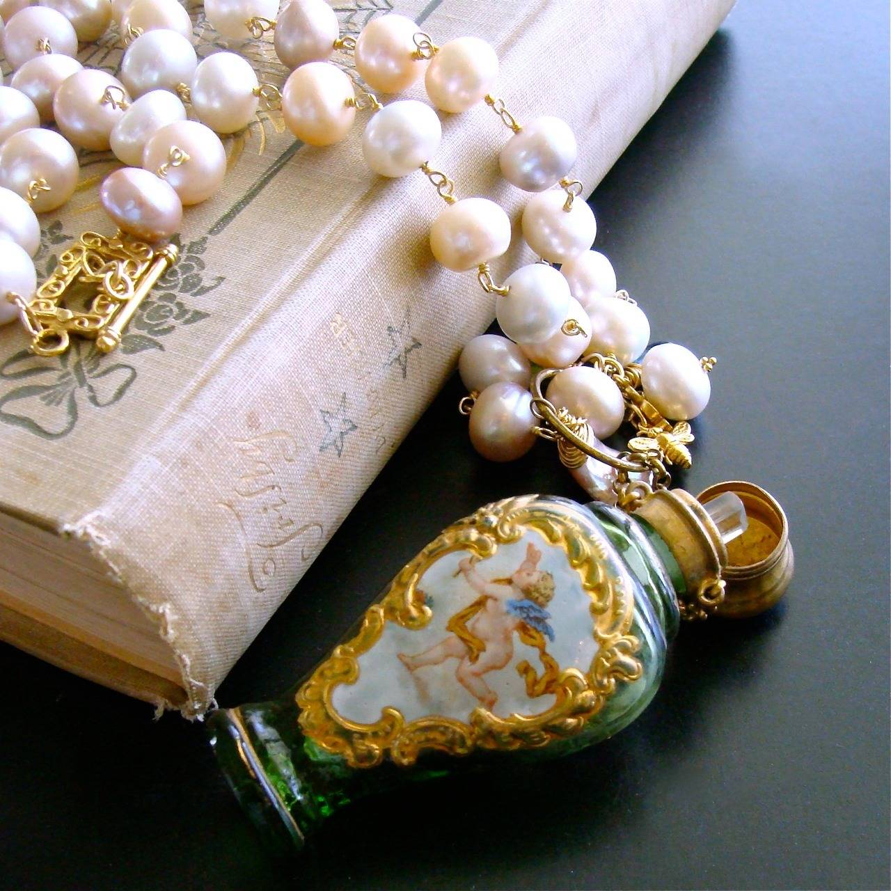 Cherub Chatelaine Scent Bottle Pink Baroque Pearls Necklace 7