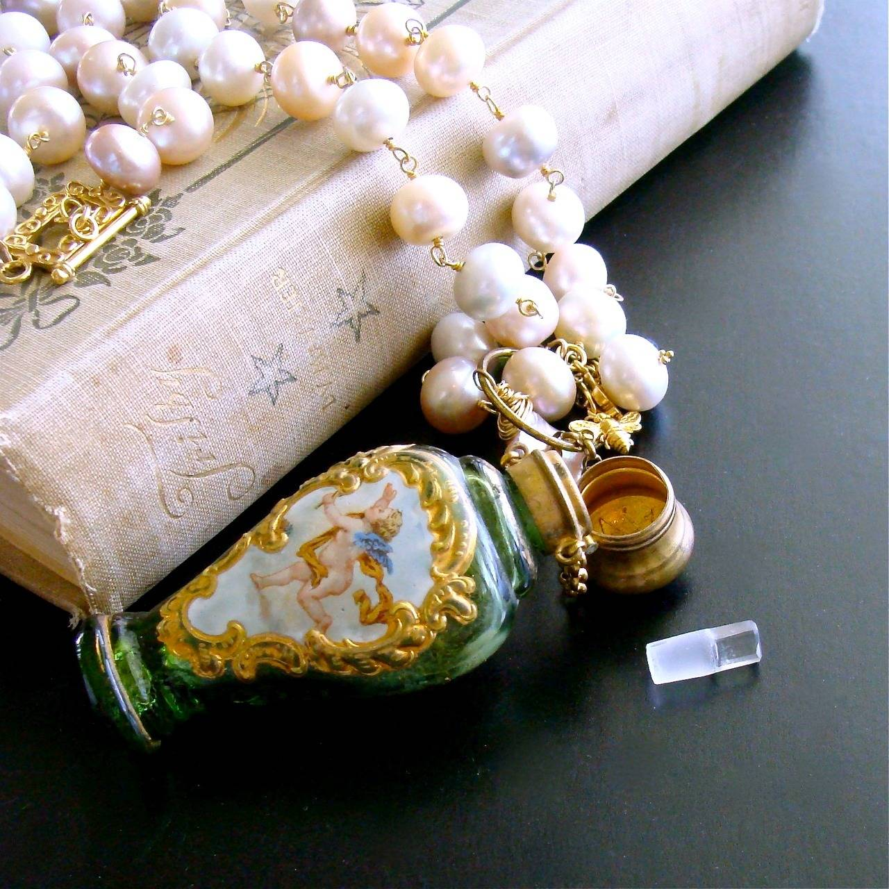 Cherub Chatelaine Scent Bottle Pink Baroque Pearls Necklace 8