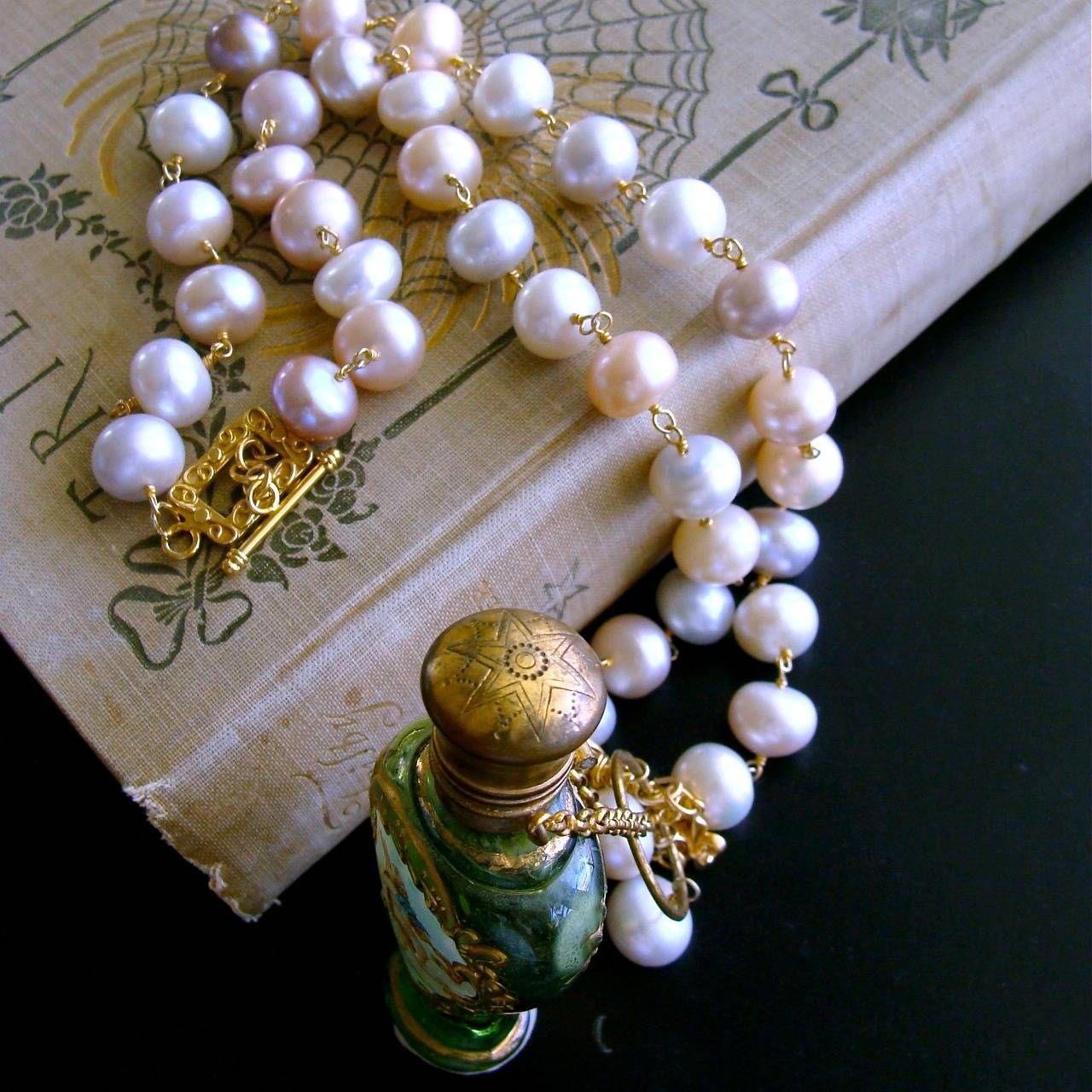 Cherub Chatelaine Scent Bottle Pink Baroque Pearls Necklace 9