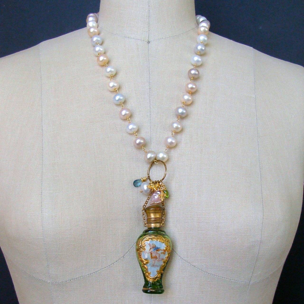 Cherub Chatelaine Scent Bottle Pink Baroque Pearls Necklace 10