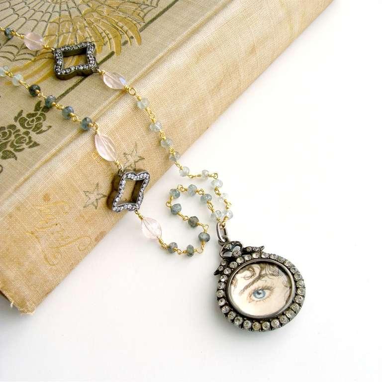 Women's Lover's Eye Georgian Locket Sapphires Rose Quartz Necklace - Rebecca Necklace For Sale