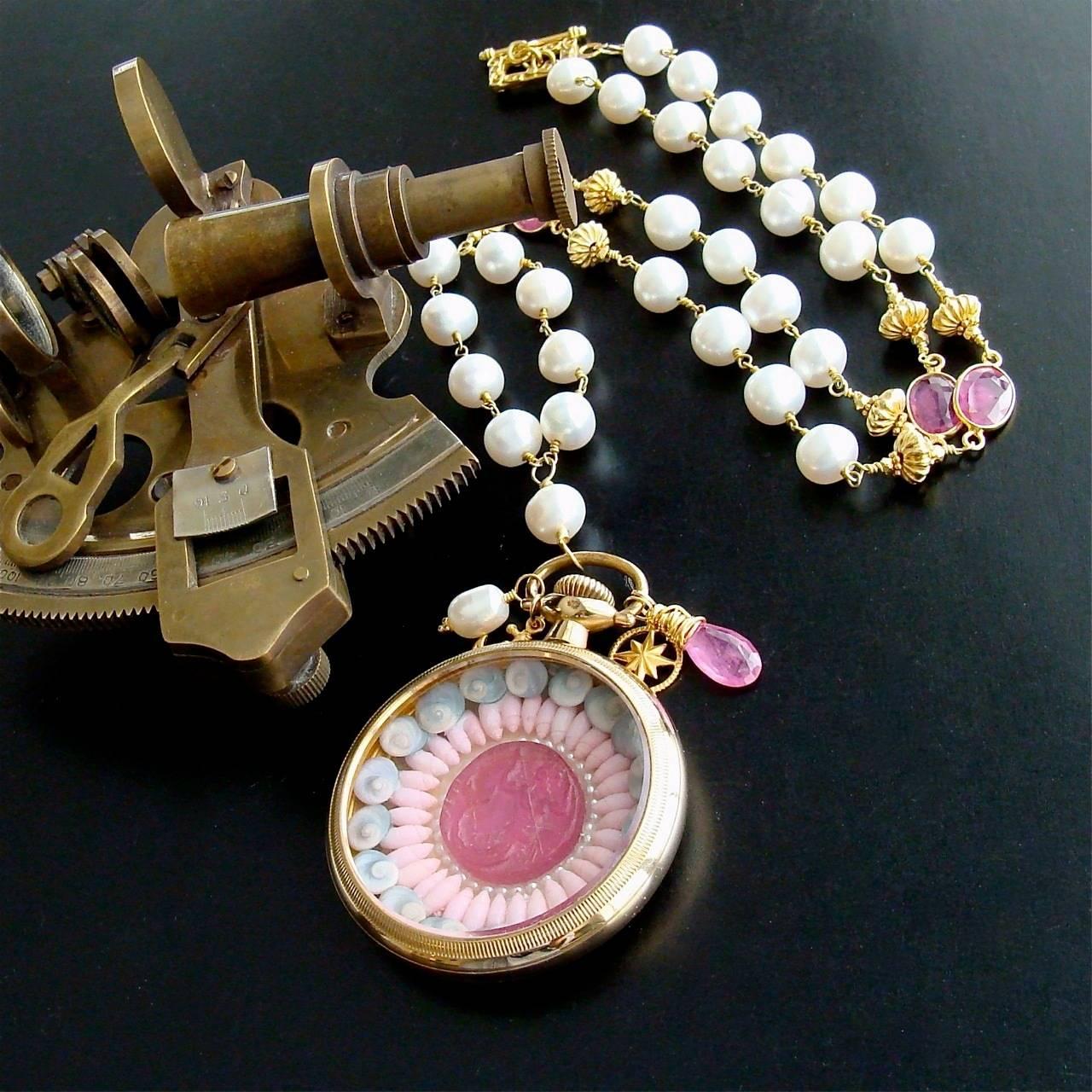 Sailor's Valentine Pocket Watch Pink Sapphire Pearls Necklace 2