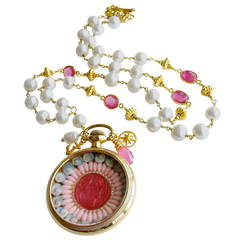 Sailor's Valentine Pocket Watch Pink Sapphire Pearls Necklace