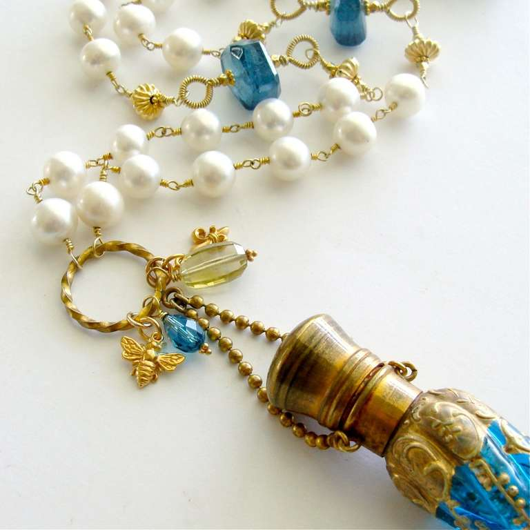 Victorian Teal Art Glass Chatelaine Scent Bottle Pearls