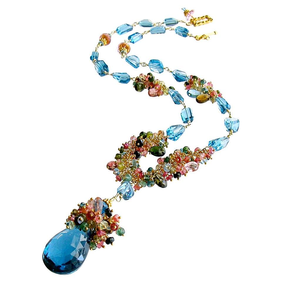 London Blue Topaz Briolette Nuggets Pink Topaz Tourmaline Tendrils Necklace