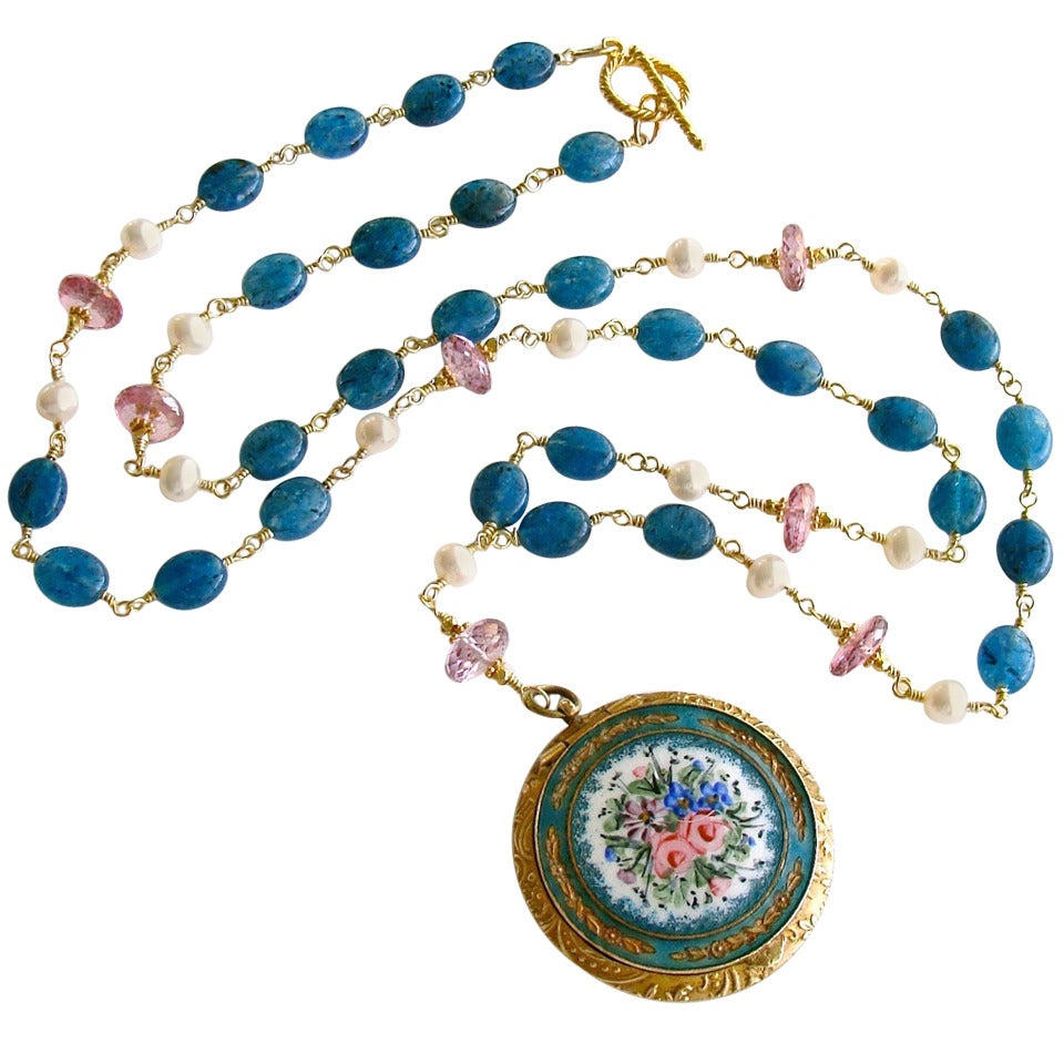 Apatite Pink Topaz Pearls Art Nouveau Enamel Locket Necklace