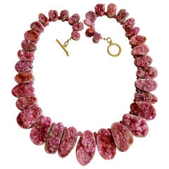 Pink Cobalto Calcite Druzy Necklace