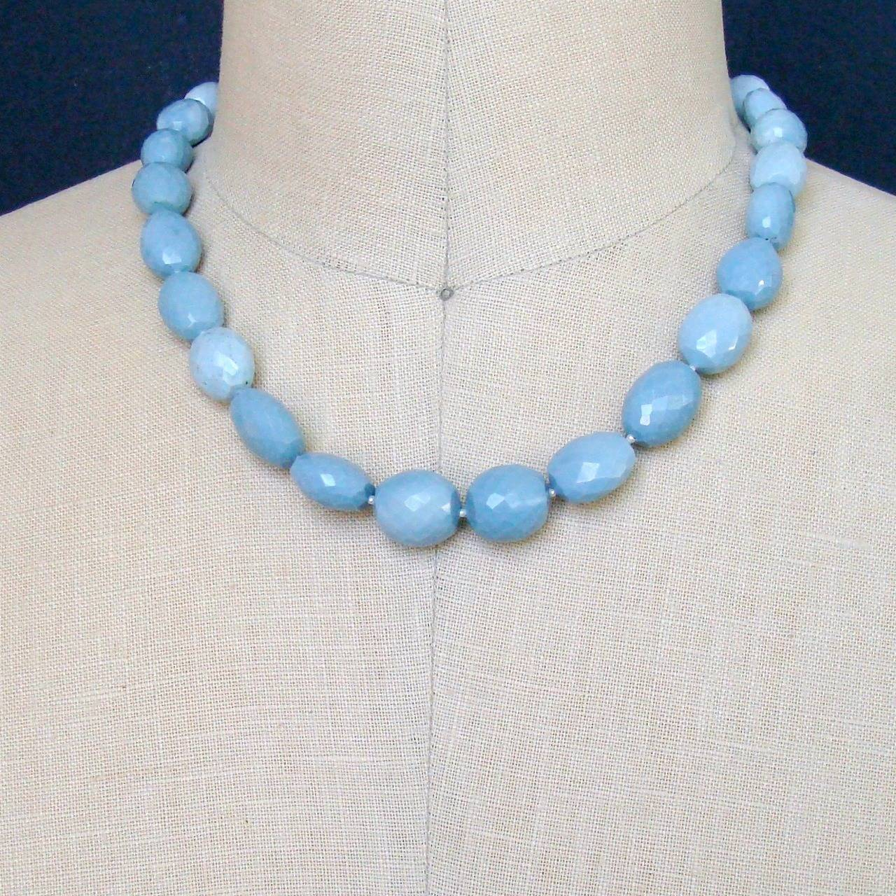 Blue Opal Mother of Pearl Inlay Choker Necklace In New Condition For Sale In Scottsdale, AZ